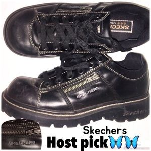 Skechers Black 90's leather tie Jammers 8